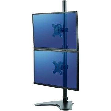 Fellowes Professional Series Free-standing Dual Stacking Monitor Arm - Up to 32'' Screen Support - 17 lb Load Capacity - 35.5'' Height x 15.3'' Width - Freestanding