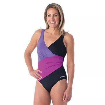 Women's Dolfin Aquashape Colorblock Surplice One-Piece Swimsuit, Size: 16, Black