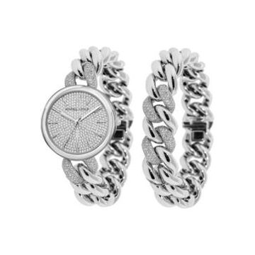 Women's Kendall + Kylie Silver Tone and Crystal Chain Link Stainless Steel Strap Analog Watch and Bracelet Set 40mm