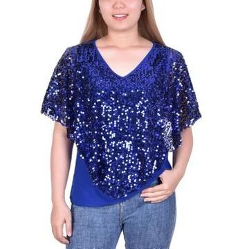 Ny Collection Petite Sequin Poncho Top