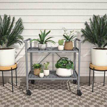 COSCO Outdoor Living Outdoor and Indoor Folding Serving Cart with Wheels and 2 Slatted Shelves, Gray