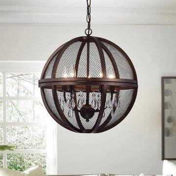 Warehouse of Tiffany Manin 5-light Antique Bronze Metal/Crystal Caged Globe Pendant Light (Brown)