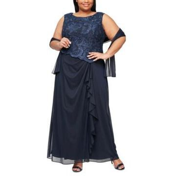 Alex Evenings Plus Size Embroidered Gown & Shawl