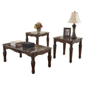 Signature Designs by Ashley North Shore Dark Brown 3-piece Occasional Table Set (Rectangle - No - Traditional - Legs - Brown - Wood - Resin/Wood -