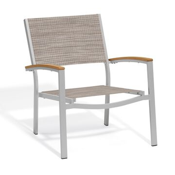 Oxford Garden Travira Chat Chair with Powder Coated Aluminum Frame and Tekwood Natural Armcaps - Bellows Sling Seat (Set of 2)