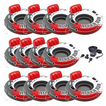 Intex River Run 1 Inflatable Floating Tube, Red (12 Pack) + Electric Air Pump