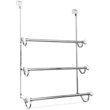 Interdesign York Chrome 3-Bar Shower Door Towel Rack Bedding
