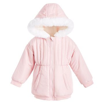 Baby Girls Hooded Jacket With Faux-Fur Trim, Created for Macy's