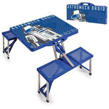 Picnic Time Star Wars R2-D2 Picnic Folding Table with Seats in Blue