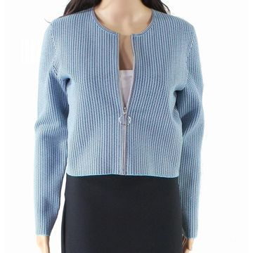 Akris Punto Womens Jacket Turquoise Blue Size 8 Multi-Color Full Zipper