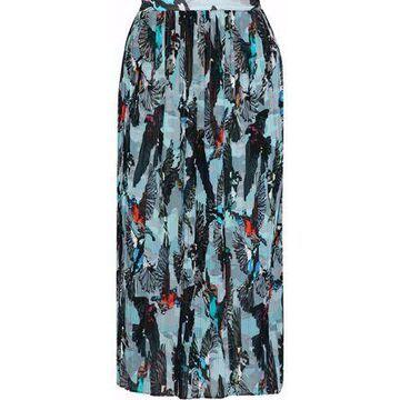 Markus Lupfer Printed Plisse Georgette Midi Skirt