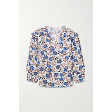Derek Lam 10 Crosby - Oona Ruffled Printed Cotton-poplin Blouse - White