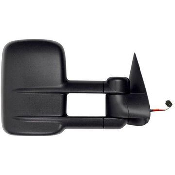 62139G - Fit System Passenger Side Towing Mirror for 99-02 Silverado/ Sierra, 00-02 Escalade, Avalanche, Suburban, Tahoe, Yukon, textured black, dual lens, foldaway, Heated Power