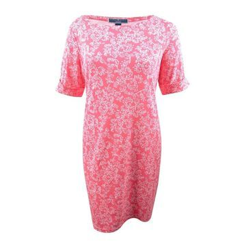 Karen Scott Women's Plus Size Printed Shift Dress - Peony Coral