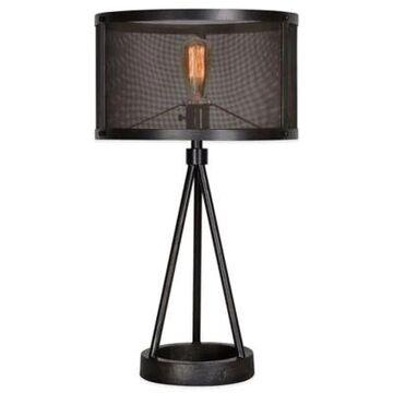 Ren-Wil Livingstone Table Lamp In Black With Metal Mesh Shade