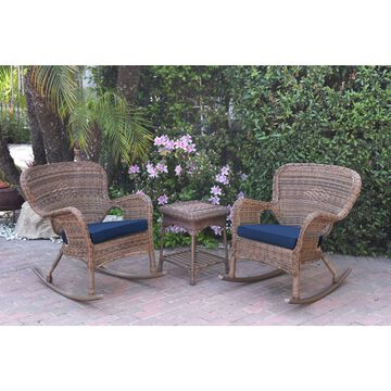 Jeco Windsor Honey Wicker Rocker Chair and End Table Set with Cushions