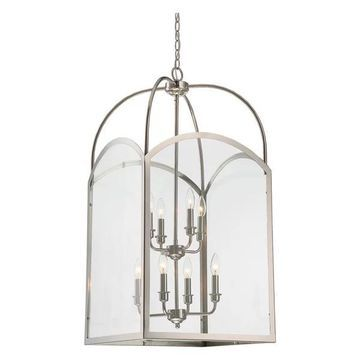 Garrett 8-Light Foyer, Polished Nickel, Clear Glass