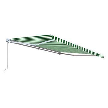 Aleko Retractable Motorized Awning, 12'x10', Green/White