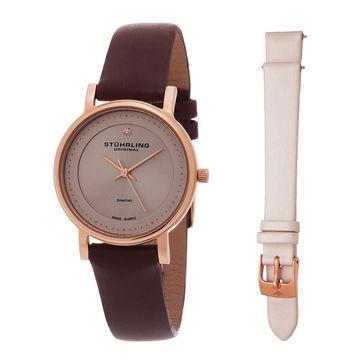 Stuhrling Women's Symphony Diamond Watch With Interchangeable Strap