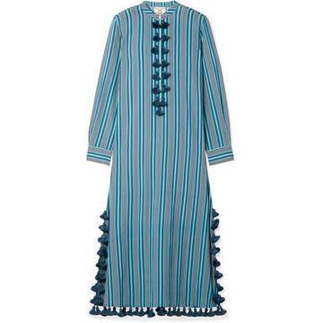 Figue - Paolina Tasseled Striped Cotton-blend Voile Midi Dress - Blue