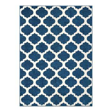 Well Woven Mystic Zoe Modern Trellis Geometric Area Rug, Blue, 5X7 Ft