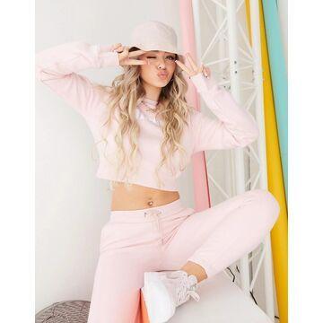 ellesse cropped sweatshirt/pants set in pink