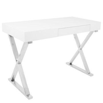 Luster Contemporary Desk in White by LumiSource