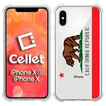Cellet TPU / PC Proguard Case with California Flag for Apple iPhone Xs & X