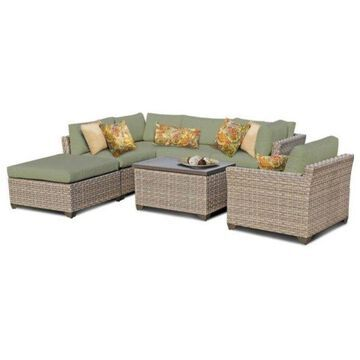 TK Classic Monterey 7-Piece Outdoor Wicker Sofa Set, Cilantro