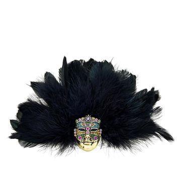 Heidi Daus Captivating Carnival Feathered Mask Pin