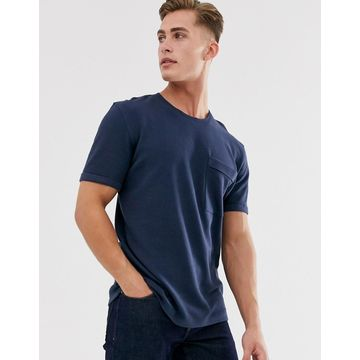 Selected Homme boxy fit t-shirt in ribbed cotton-Navy