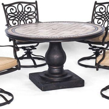 Hanover Natural Oat Monaco 5-Piece Outdoor Dining Patio Set