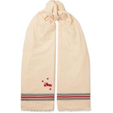Loewe - Paula's Ibiza Embroidered Striped Cotton-twill Scarf - Cream