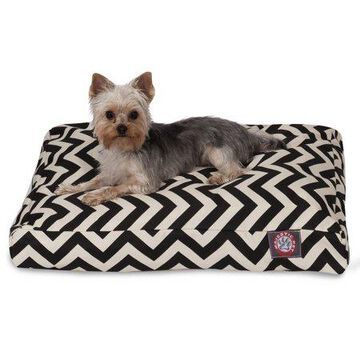 Majestic Pet Chevron Rectangle Dog Bed Treated Polyester Removable Cover Black Small 27