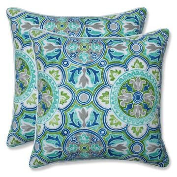Pillow Perfect Lagoa Tile Pool 2-Piece 18.5-in W x 18.5-in L Indoor Decorative Pillow Polyester in Blue