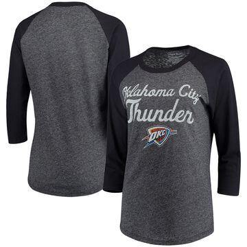 Oklahoma City Thunder Majestic Threads Women's Double Dribble Raglan Tri-Blend 3/4-Sleeve T-Shirt - Heathered Navy/Navy