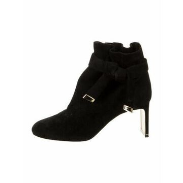 Suede Bow Accents Boots Black