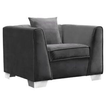 Armen Living Cambridge Velvet Sofa Chair in Stainless Steel (Grey)