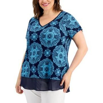 Jm Collection Plus Size Ariana Contrast-Trim Top, Created for Macy's