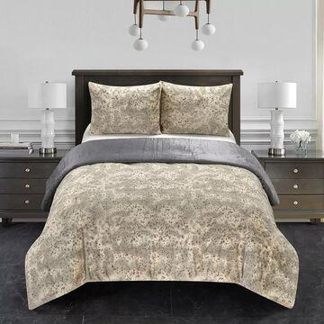 Dearfoams Holburn Tip Dye Faux Fur Comforter Set with Sherpa Reverse