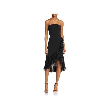 Carmen Marc Valvo Womens Cocktail Dress Strapless Ruffled