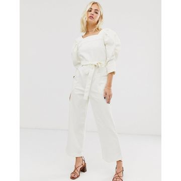 ASOS WHITE square neck denim jumpsuit with volume sleeves