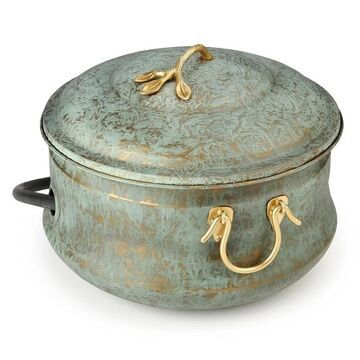 Sedona Hose Pot with Lid, Brass Accents, holds up to 150-Feet of Hose By Good Directions (Green - Planters - Steel)