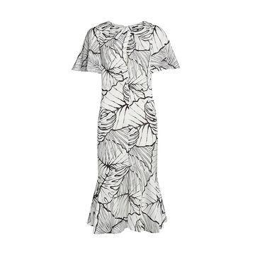 Marchesa Notte Palm Print Ruffle-Hem Dress