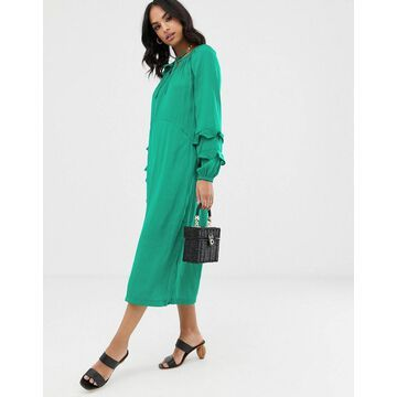 Vila volume floaty maxi dress-Green