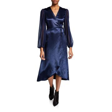 Wraparound Midi Dress with Long Sheer Sleeves