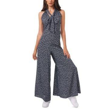 1.state Printed Tie-Neck Jumpsuit