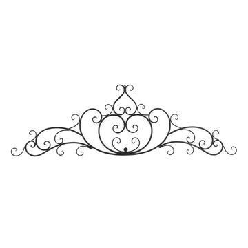 Benzara Wrought Iron Metal Wall Plaque With Decorative Scroll, Bronze