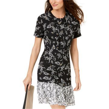 maison Jules Womens Floral Flounce Dress