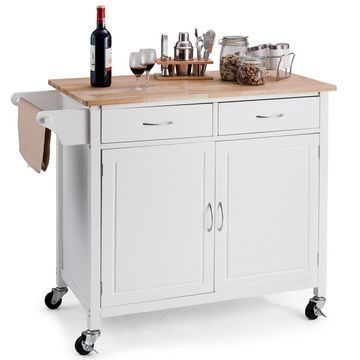 Costway Modern Rolling Kitchen Cart Island Wood Top Storage Trolley Cabinet Utility New